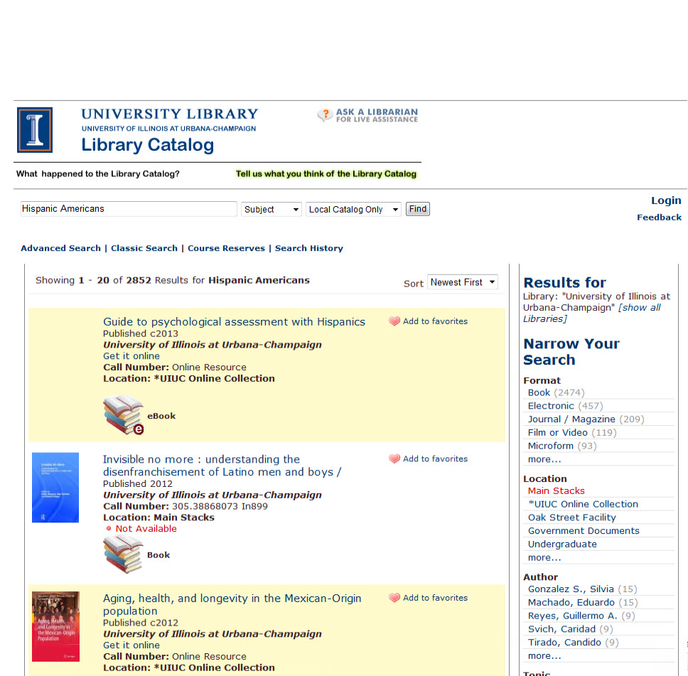 Library catalog subject search