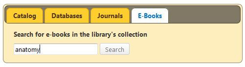 library catalog search widget with ebooks tab selected