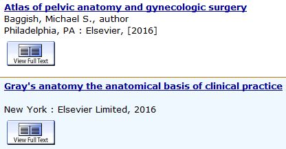 screenshot of ebook records atlas of pelvic anatomy and gynecologic surgery and gray's anatomy the anatomical basis of clinical practice