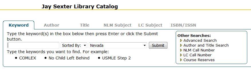 screenshot of library catalog search widget