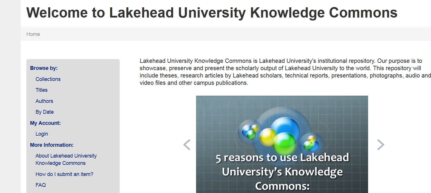 Screenshot of Lakehead's repository - Knowledge Commons
