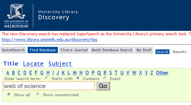 A-Z Discovery search for Web of Science