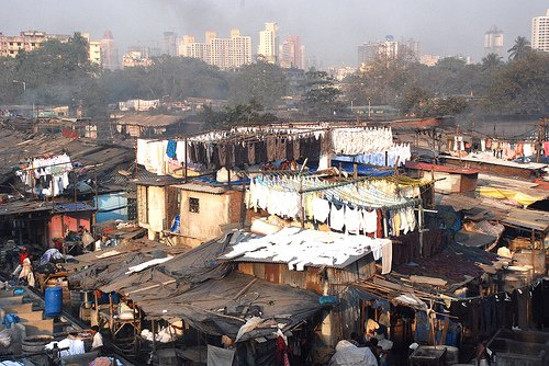 Picture of a poor living community in India.