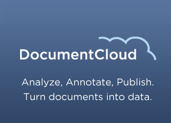 This is a logo for DocumentCloud. It has a blue background and white font.