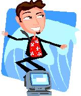 Cartoon figure surfing the web