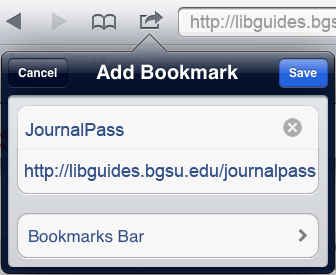 add bookmark in Safari