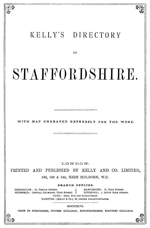 Image of the title page of Kelly's Directory of Staffordshire 1896