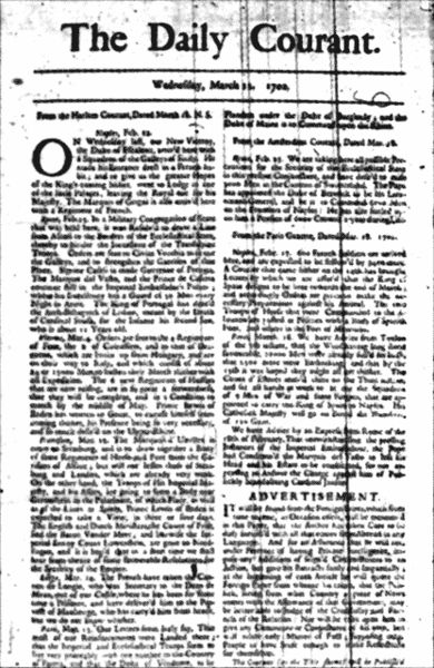 11 March 1702 Daiy Courant
