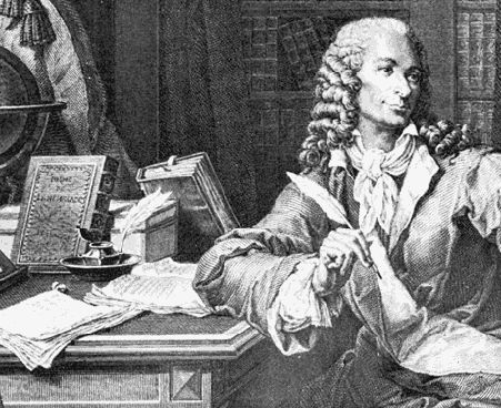 Voltaire at Frederick the Great's Sanssouci. Engraving by Pierre Charles Baquoy.