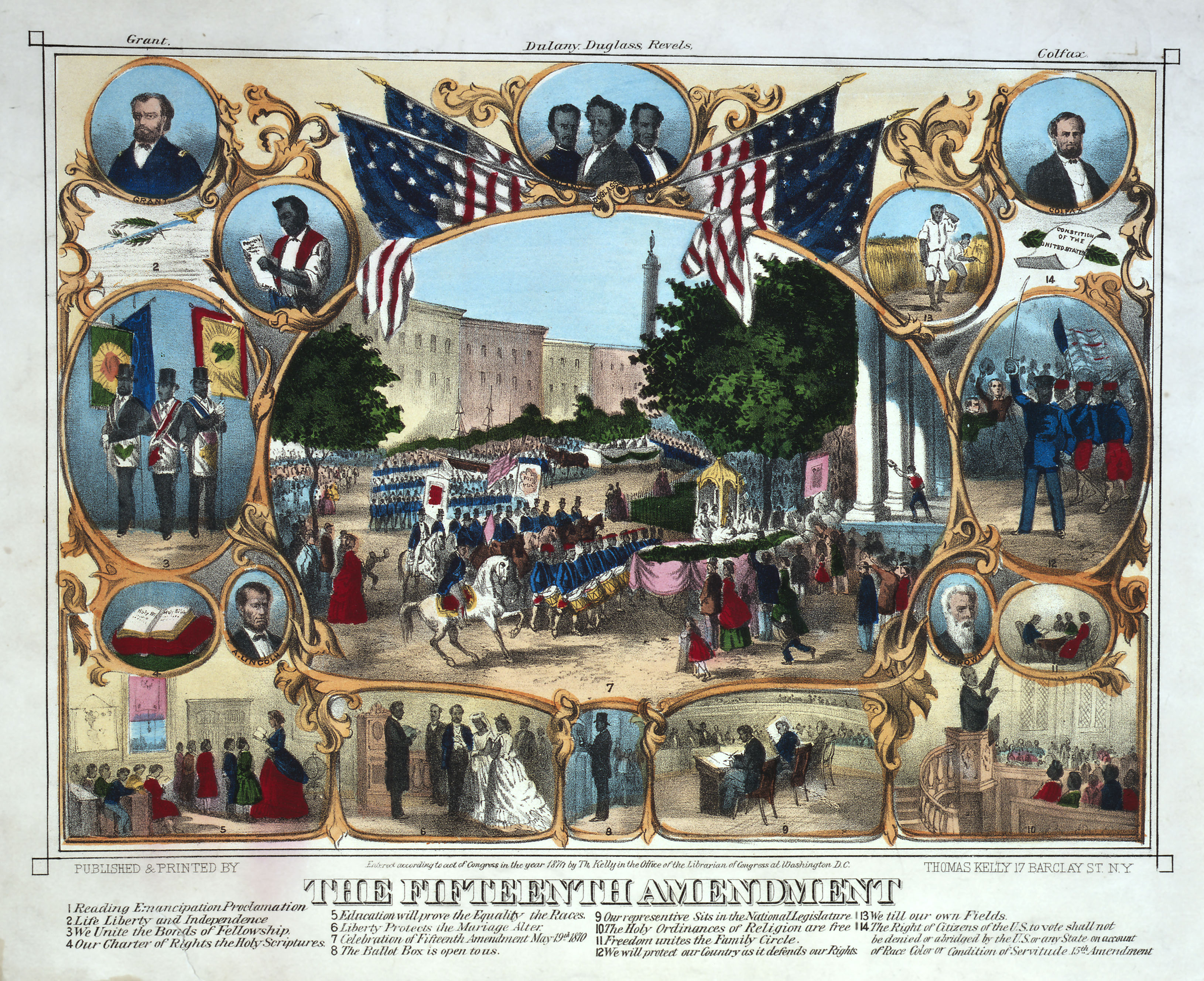 Print Celebrating the Passage of the Fifteenth Amendment in February 1870