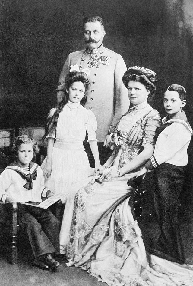 The Archduke Franz Ferdinand of Austria-Hungury with his family in 1910.