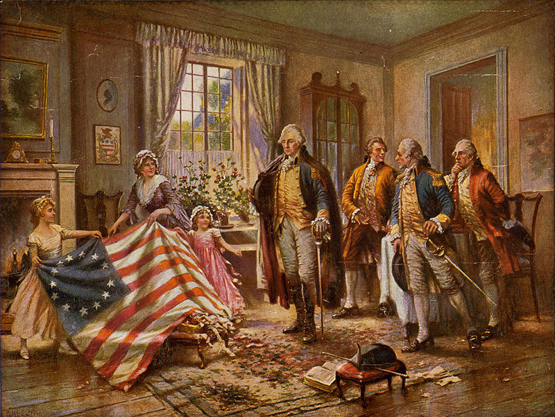 Betsy Ross presenting the first American flag to George Washington by Edward Percy Moran