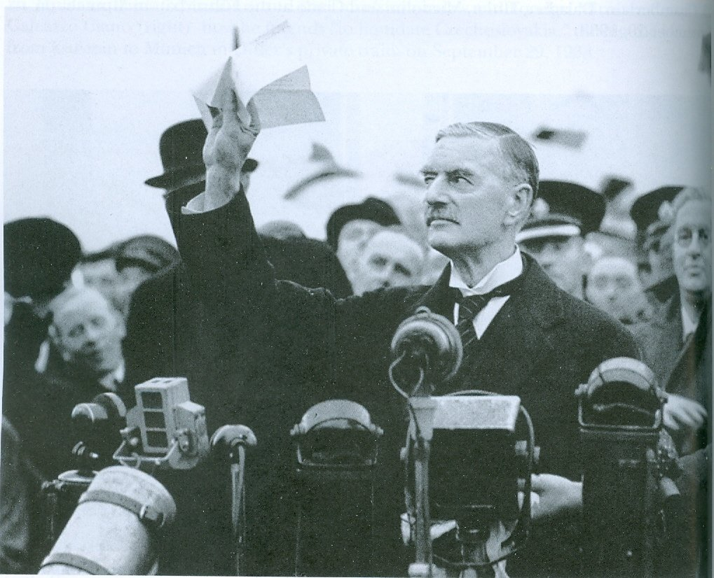 "Neville Chamberlain announcing ""Peace in our Time"" (War would break out one year later.)"