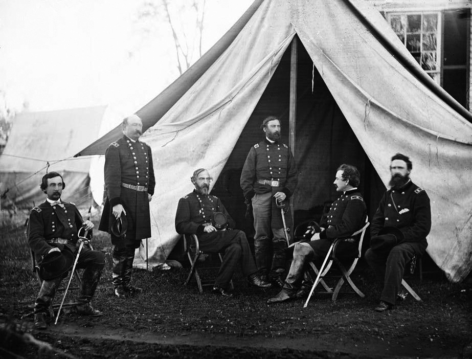 Commanders of the Army of the Potomac at Culpeper, Virginia, 1863. From the left: Gouverneur K. Warren, William H. French, George G. Meade, Henry J. Hunt, Andrew A. Humphreys, George Sykes.