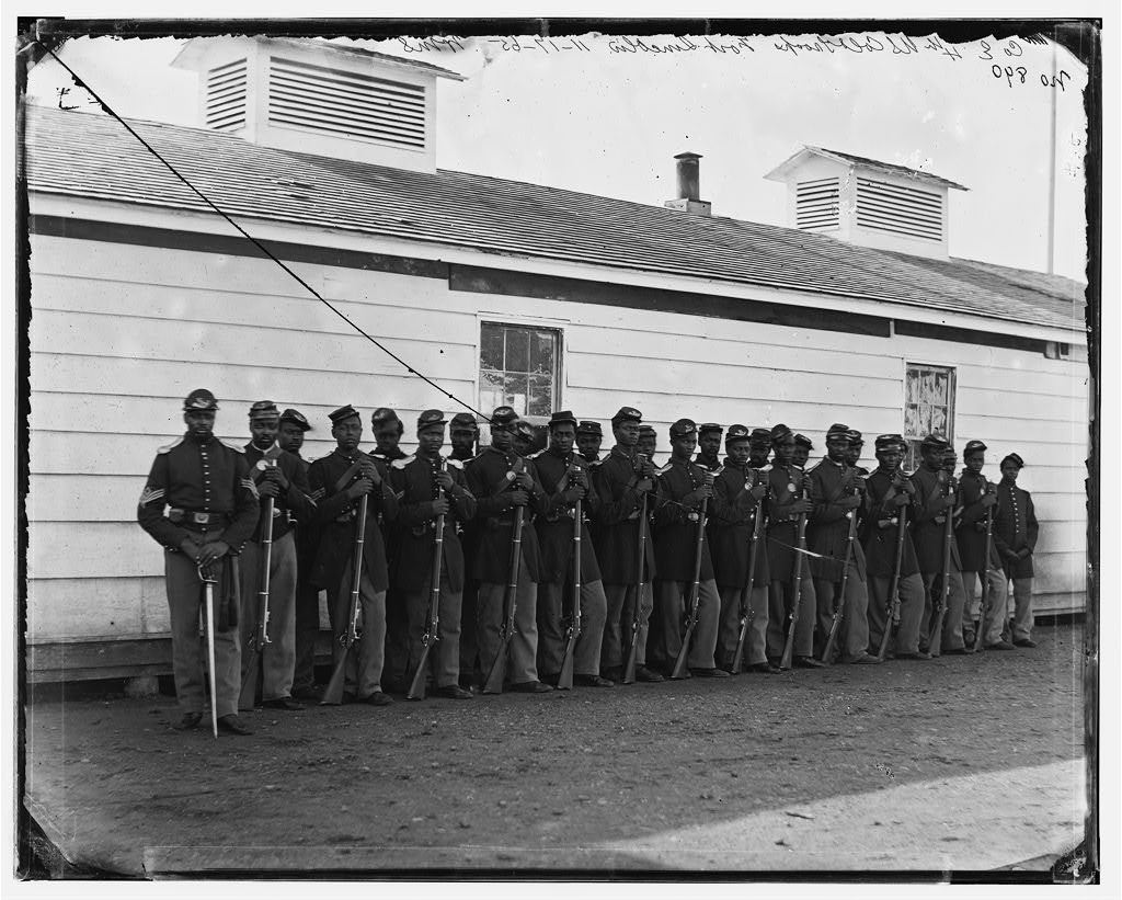 Company E 4th U.S. Colored Infantry Fort Lincoln Washington D.C. Photo by William Morris Smith 1863-1865