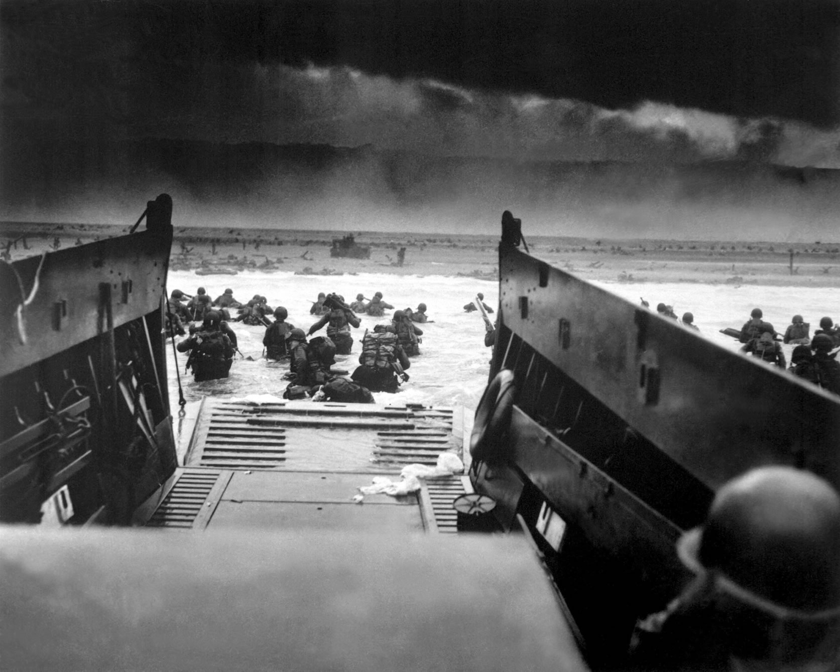US Soldiers landing on the coast of France June 6, 1944.