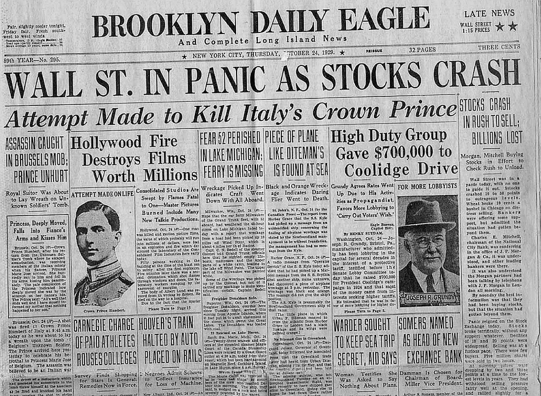 Brooklyn Daily Eagle Headline 1929