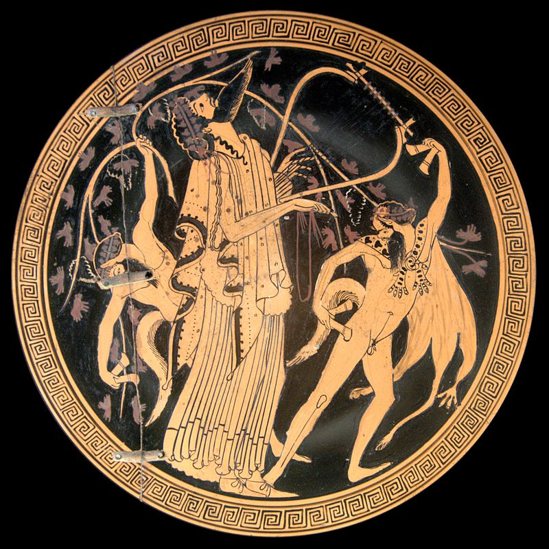Dionysus surrounded by Satyrs - Greek Pot Painting