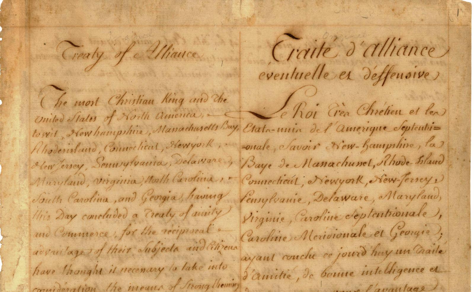 Franco-American Treaty of Amity and Commerce Dual Language Manuscript February 6, 1778