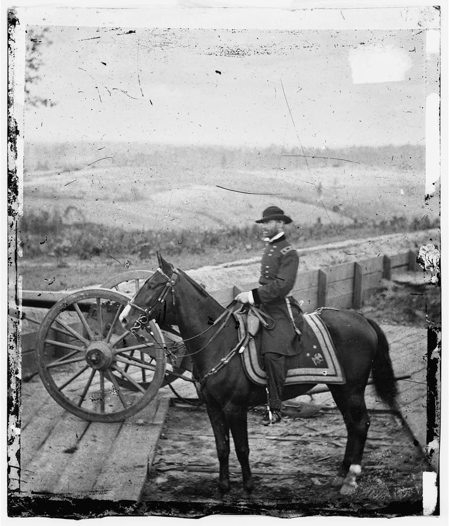 General William T. Sherman on his horse at Fort No. 7 before Atlanta in August 1864