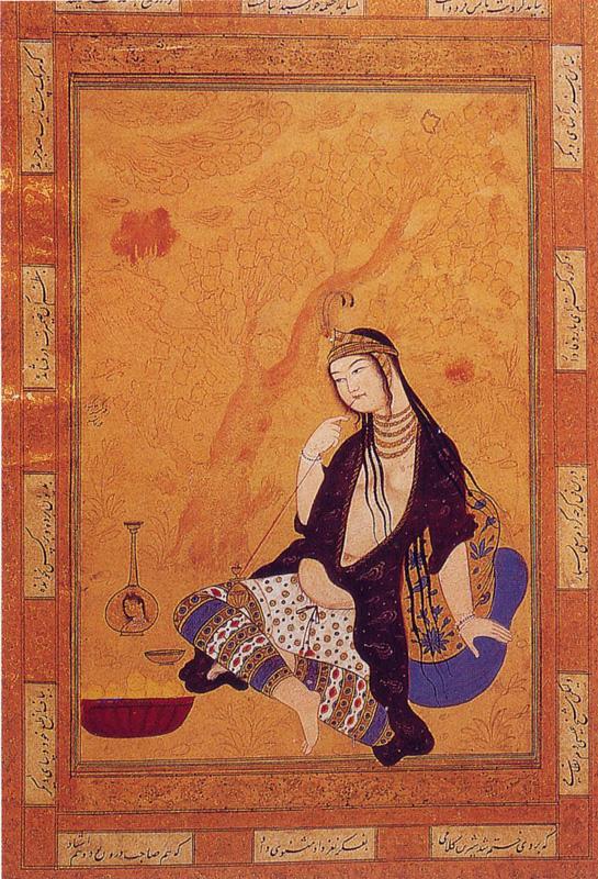 Girl Smoking by Muhammad Qasim (17th Century)