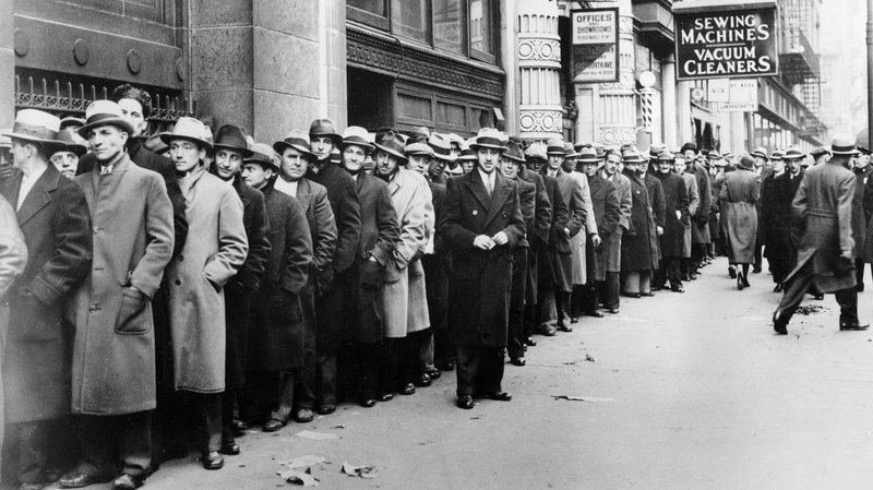 The Unemployed outside the State Labor Bureau in New York City 1933