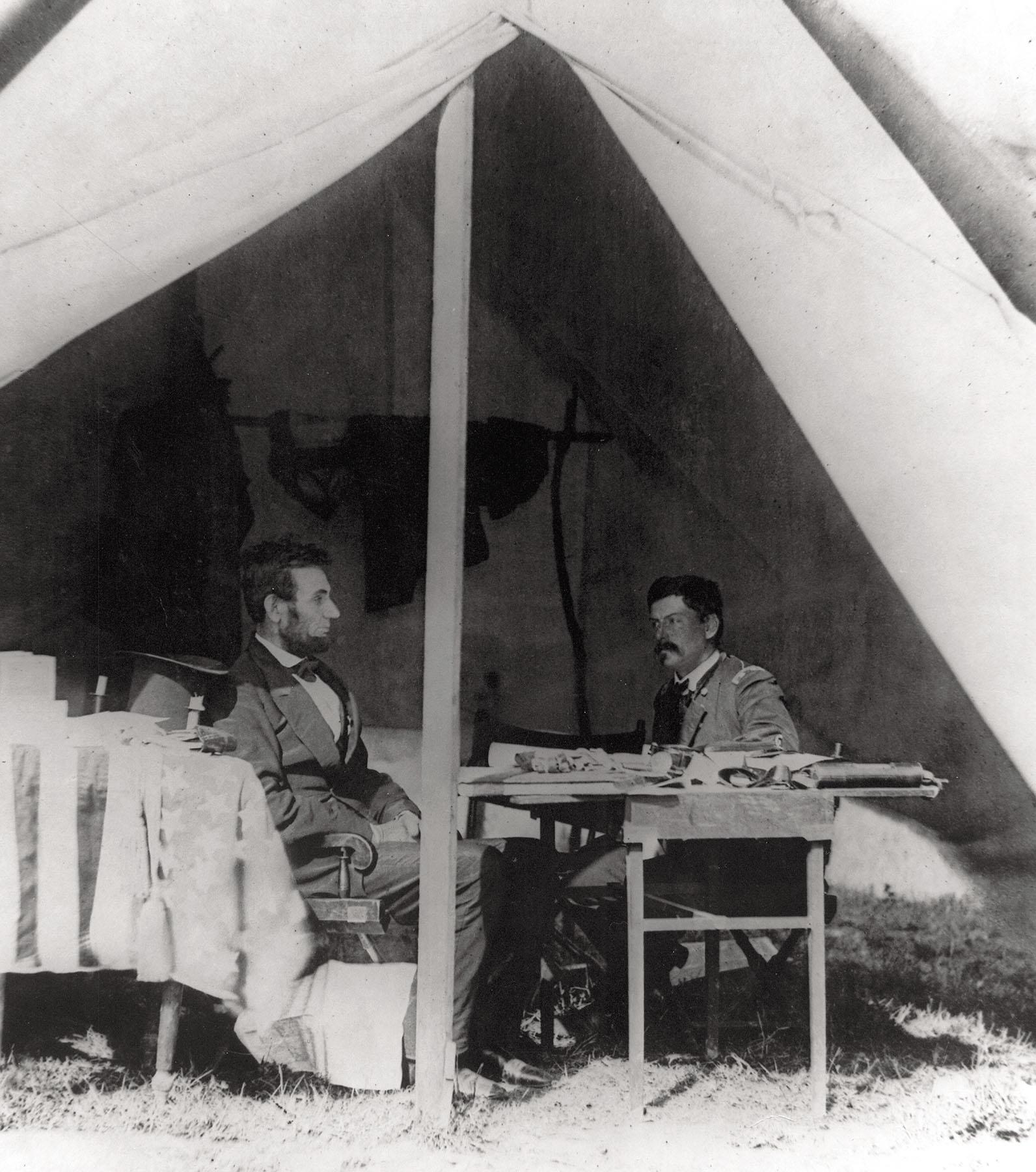 Lincoln and McClellan at Generals Headquarters Tent at Antietam October 4, 1862