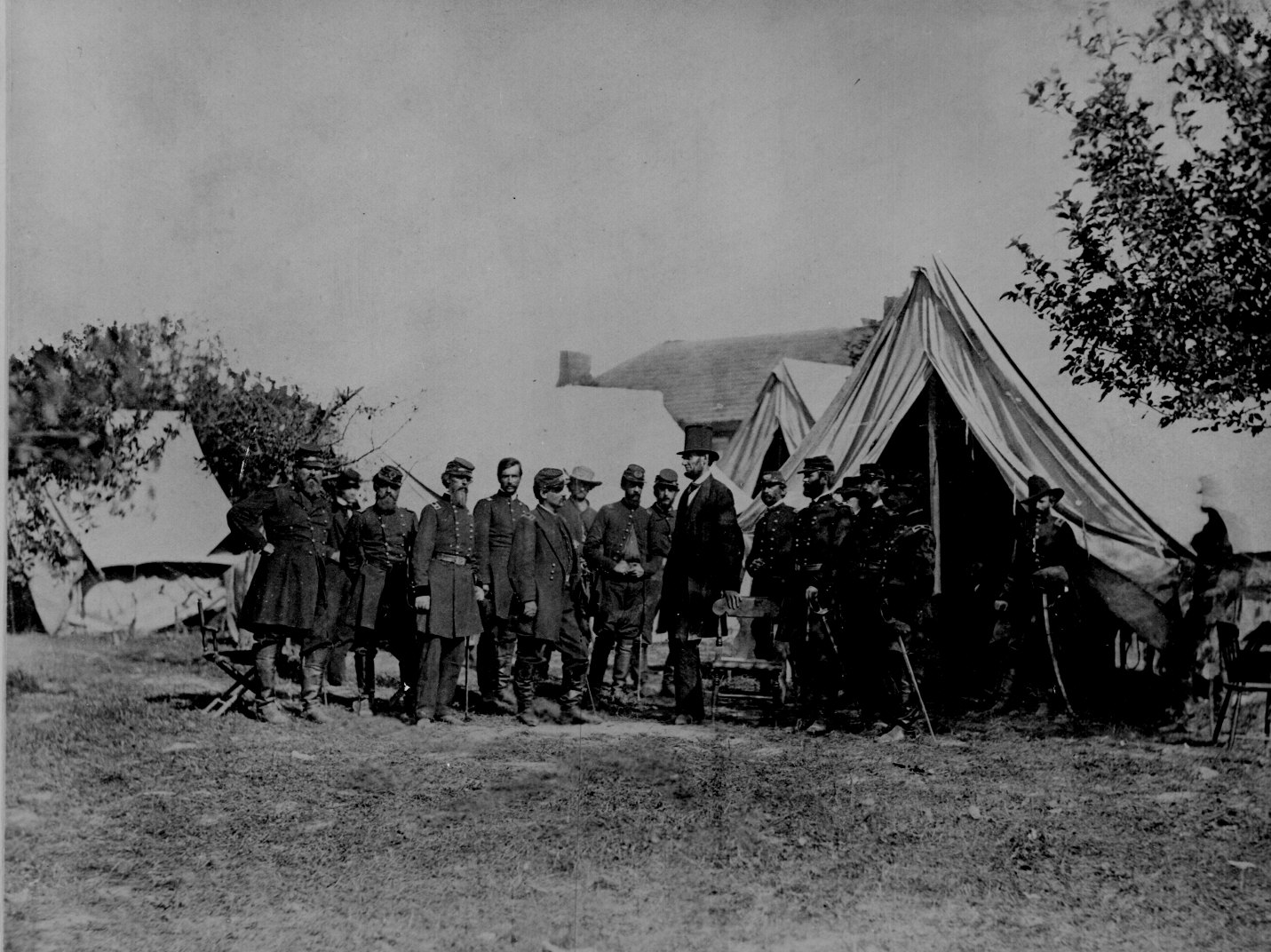 President Lincoln visiting the battlefield at Antietam Maryland October 3, 1862. General McClellan and 15 members of his staff are in the group. Photographed by Alexander Gardner. 165-SB-23.