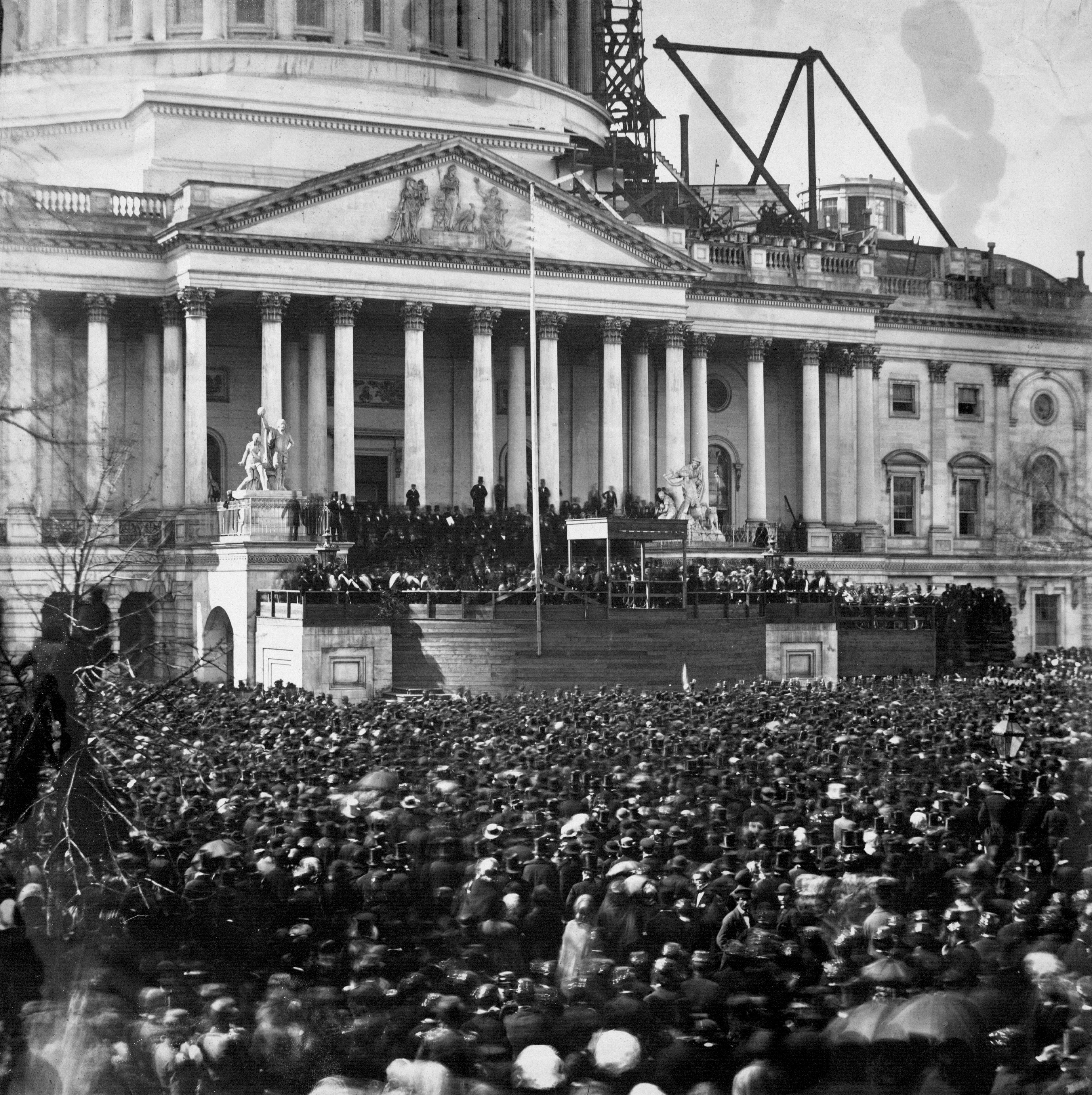 Inauguration of Abraham Lincoln in front of U.S. Capitol Building March 4 1861