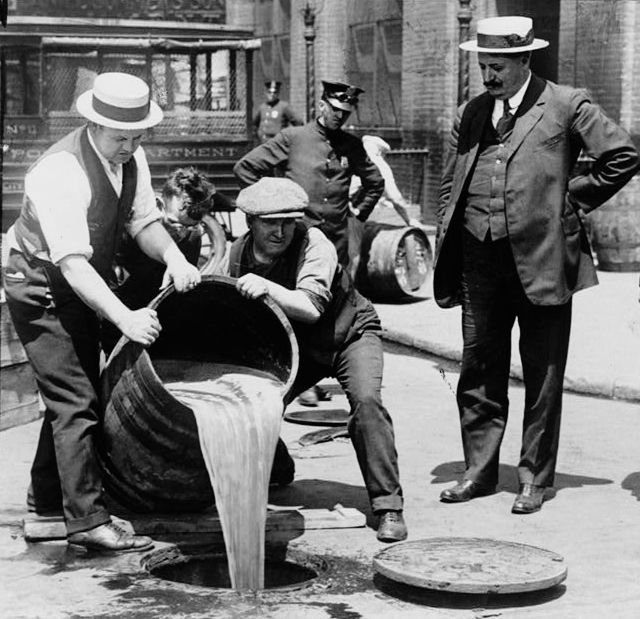 Liquor Poured Down the Drain During Prohibition