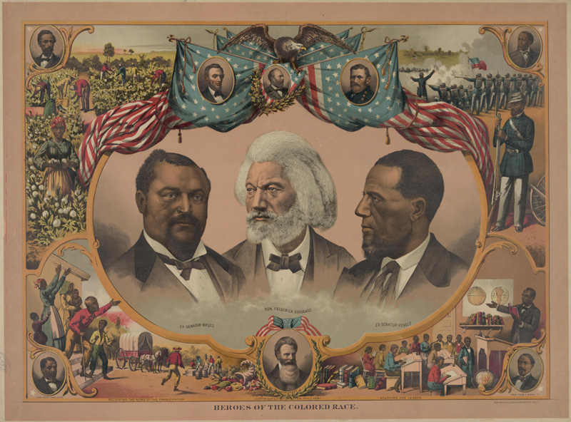 1881 Lithograph showing Blanche Kelso Bruce, Frederick Douglass, and Hiram Rhodes Revels