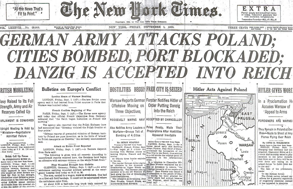 New York Times Headline on the First Day of World War Two