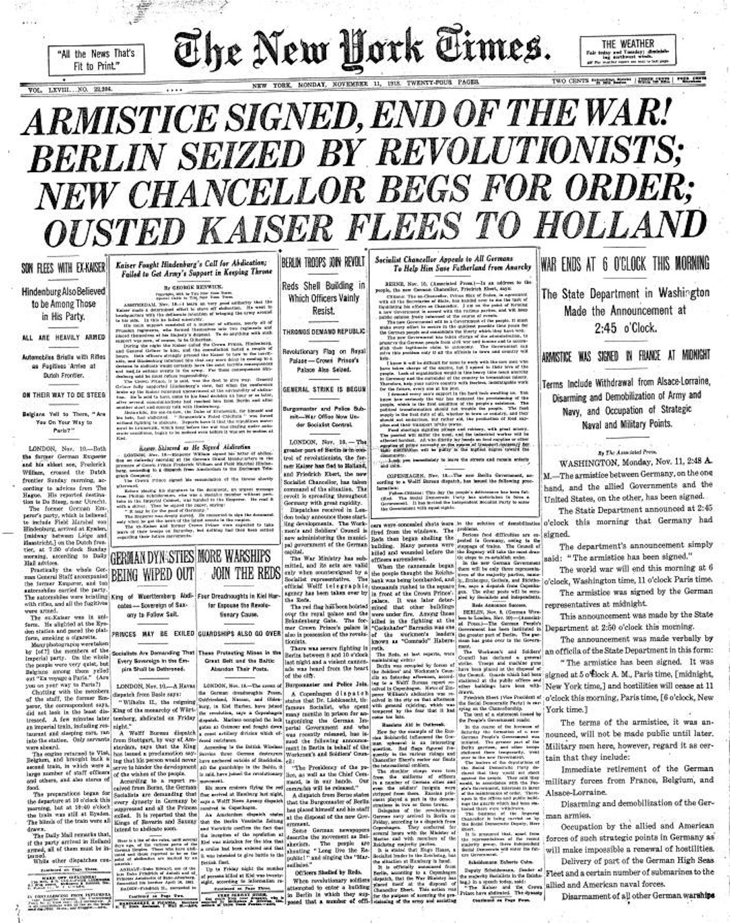 NY Times Armstice Headline