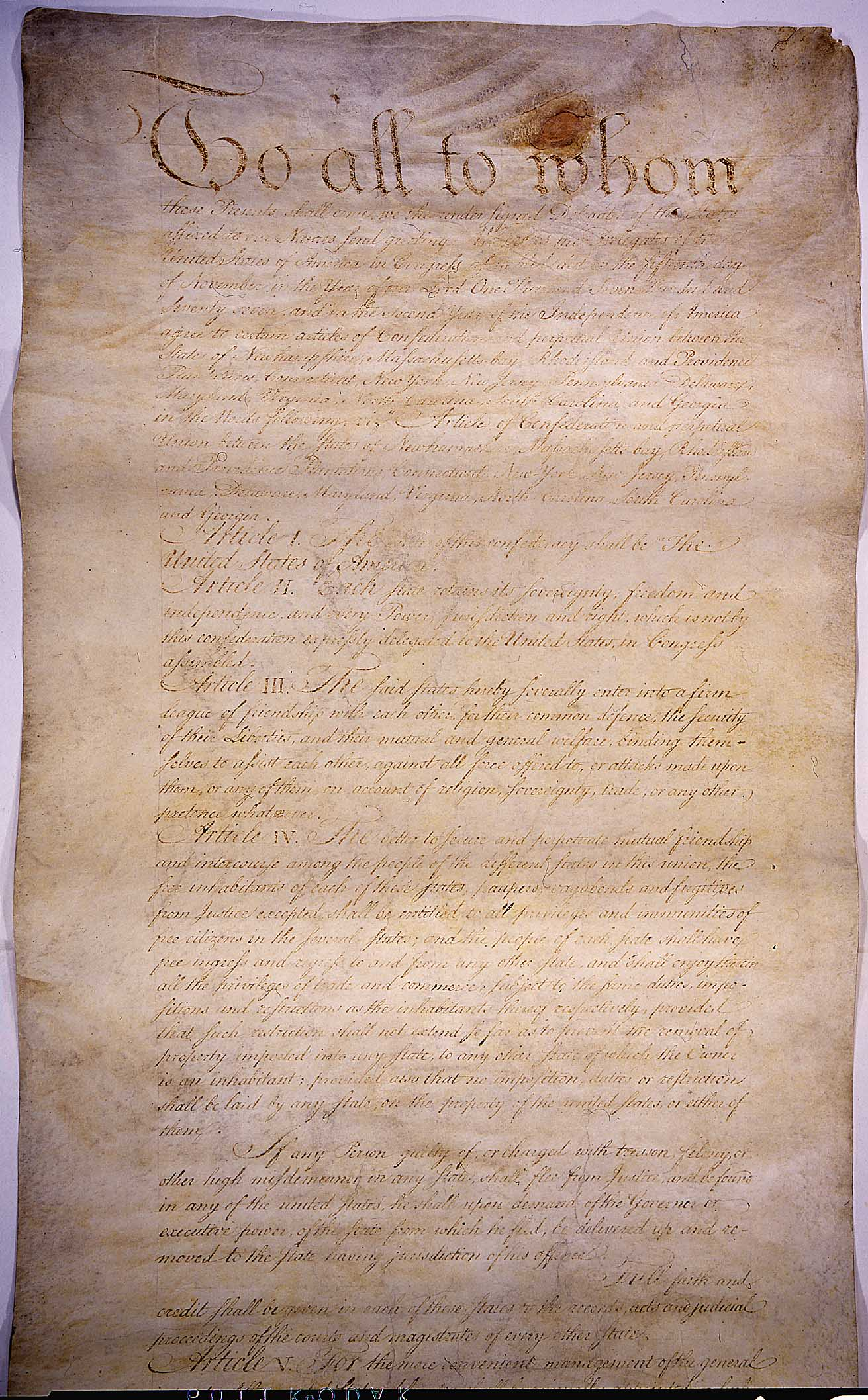 Page One of the Articles of Confederation