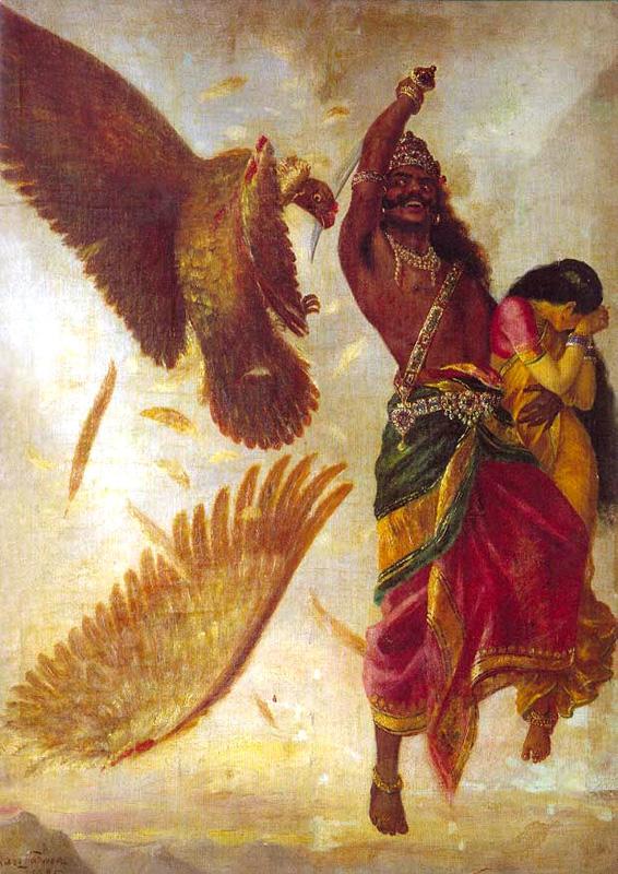 Ravana fights Jatayu While Kidnapping Sita by Raja Ravi Varma