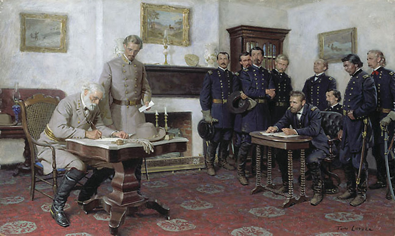 Robert E Lee Surrendering to US Grant at Appomattox 1865