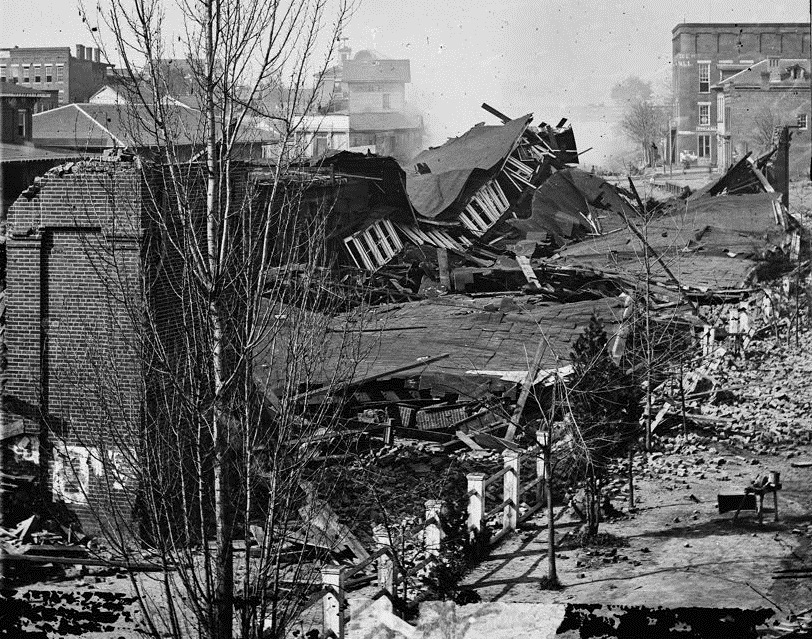 Ruins of Atlanta Union Depot after burning by Sherman's troops in 1864