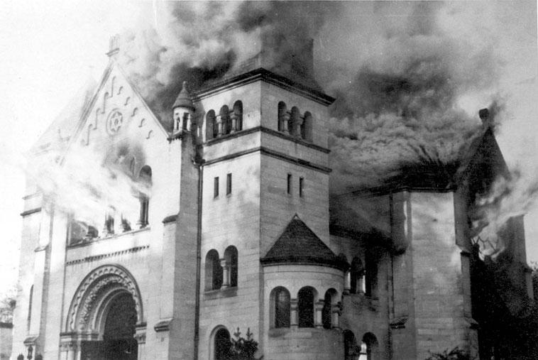 Synagogue in Baden-Baden Burning November 10 1938