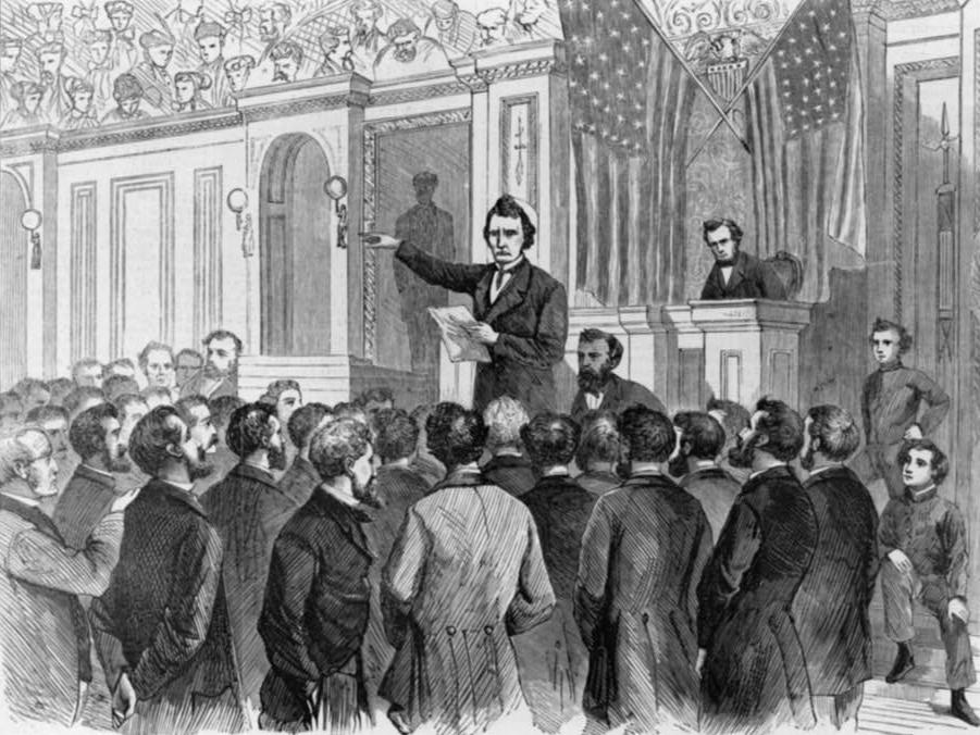 Thaddeus Stevens Speech to House of Representatives on Johnson Impeachment by Harpers Weekly