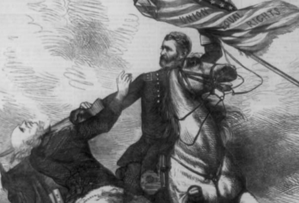 US Grant Attacking the Head of KKK 1871