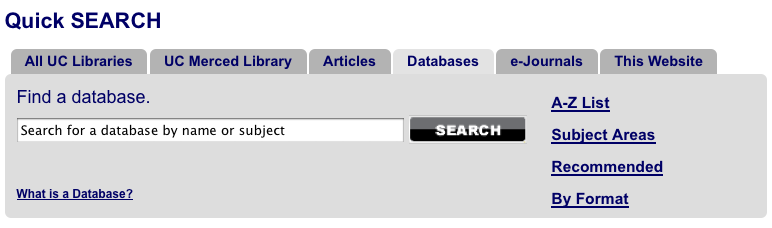 Databases tab at QuickSearchbox