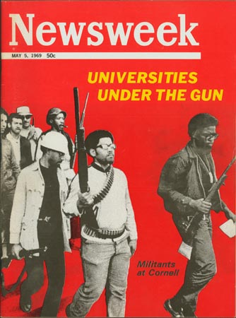 photo from <em>Newsweek</em> of Eric Evans and Edward Witfield, leading students out of Willard Straight.