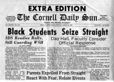 "Cornell Daily Sun Headline, "" Black Students Seize Straight."""