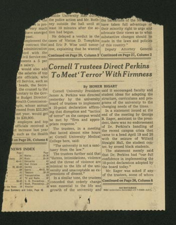 "Picture of newspaper article with headline, ""Cornell Trustees Direct Perkins to Meet 'Terror' With Firmness."""