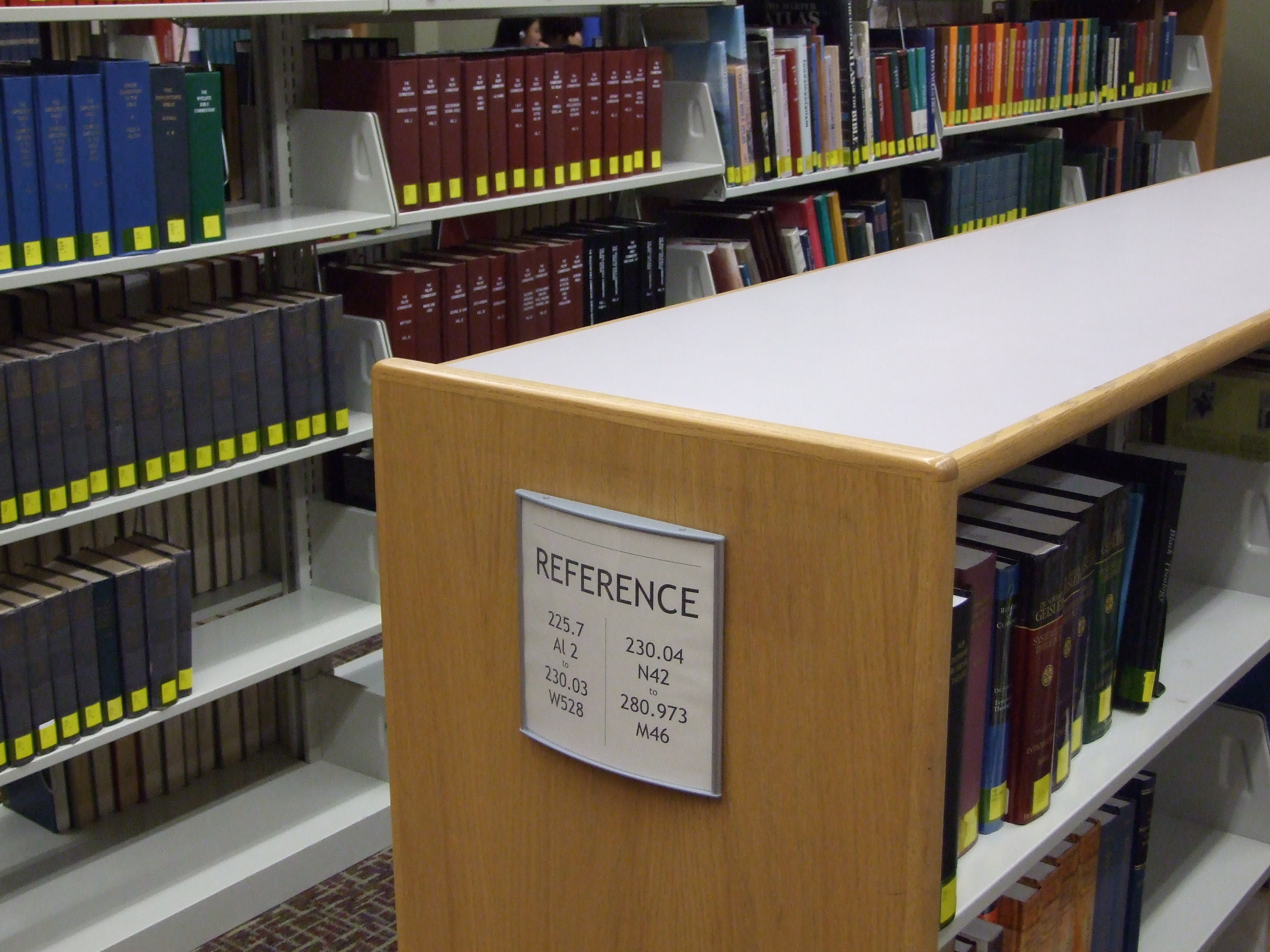 Print reference books are located on the main level of the Berntsen Library