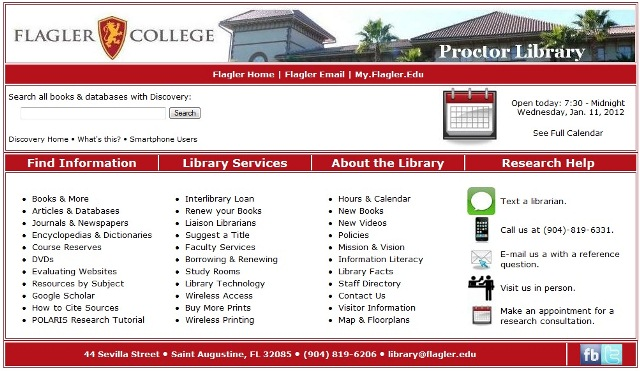 image of Flagler Library webpage