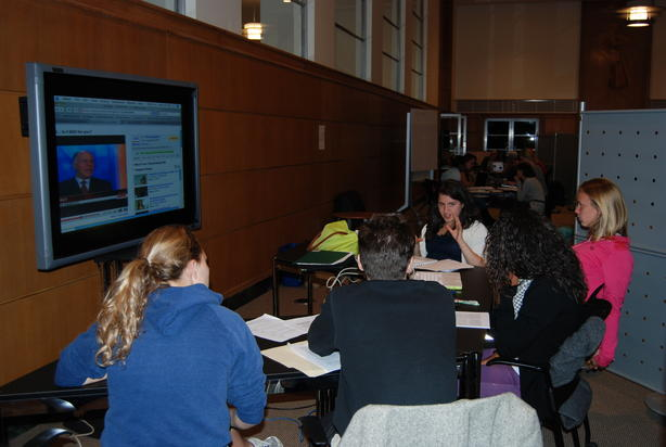 Students in the Bissett Collaborative Center