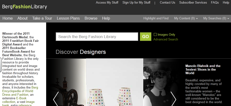 Berg Fasion Library home page
