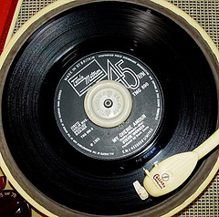 Image of a record player, playing my Cherie Amore by Stevie Wonder
