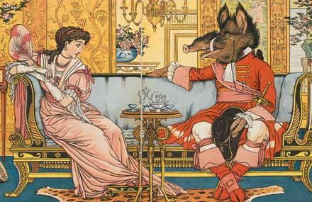 Colored picture of the book Beauty and The beast 1874